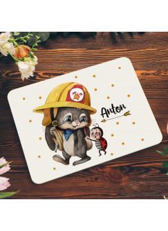 Frühstücksbrett aus Kunststoff Feuerwehr Hase Häschen & Wunschnamen für Kinder & Erwachsenen Frühstücksbrettchen Schneidebrett Küchenbrettchen kb5