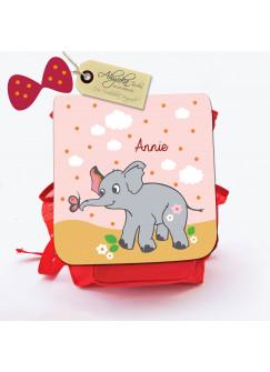 Kinderrucksack Baby Elefant mit Schmetterling und Wunschnamen kgn008