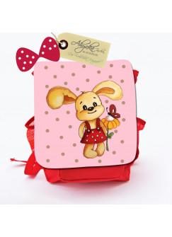 Kinderrucksack Häschen Kaninchen Lilly mit Blume und Wunschnamen kgn014