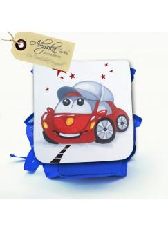 Kinderrucksack Auto Flitzi auf der Straße mit Wunschnamen kgn024