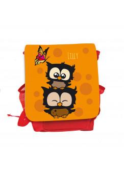Kinderrucksack Eulchen mit Schmetterling Punkten und Wunschnamen in orange kgn028