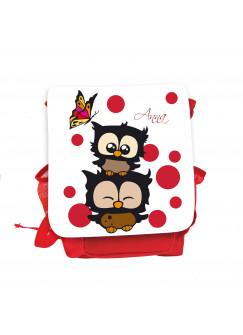 Kinderrucksack Eulchen mit Schmetterling roten Punkten und Wunschnamen in weiß kgn030