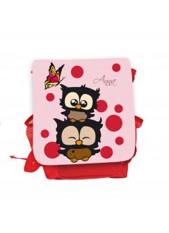 Kinderrucksack Eulchen mit Schmetterling Punkten und Wunschnamen in rosa kgn032