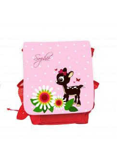 Kinderrucksack Reh Rehkitz mit Blumen Punkten Schmetterlingen und Wunschnamen in rosa kgn034