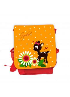 Kinderrucksack Reh Rehkitz mit Blumen Punkten Schmetterlingen und Wunschnamen in orange kgn035