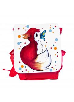 Kinderrucksack Rotfüchsen Fuchs mit Punkten und Schmetterling kgn042