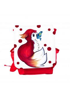 Kinderrucksack Rotfüchsen Fuchs mit Punkten und Schmetterling kgn043