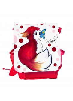 Kinderrucksack Rotfüchsen Fuchs mit Punkten Schmetterling und Wunschnamen kgn044