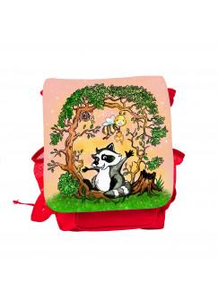 Kinderrucksack Waschbär mit Biene Schnecke im Wald kgn049
