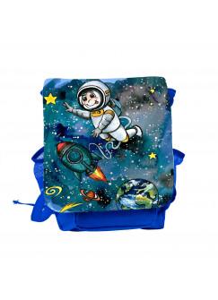 Kinderrucksack Weltraum mit Astronaut Rakete Mond Sterne und Planeten kgn050