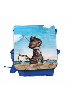 Kinderrucksack Kater Katze Kätzchen Angelkatze Angel angeln Fische rot blau hellblau Kindergarten Rucksack Wunschname kgn051
