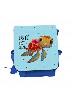 Kinderrucksack Schildkröte mit Spruch Chillkrötchen Chill Kröte blau hellblau Kindergarten Rucksack Wunschname kgn052