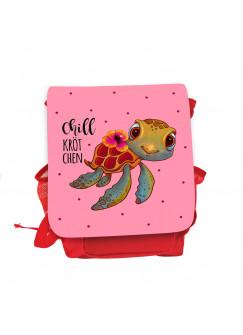 Kinderrucksack Schildkröte mit Spruch Chillkrötchen Chill Kröte rot rosa Kindergarten Rucksack Wunschname kgn053