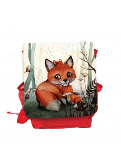 Kinderrucksack mit Fuchs Fuchsmama mit Jungtier rot rosa Kindergarten Rucksack Wunschname kgn054