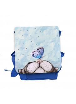Kinderrucksack Katze mit Schmetterling blau hellblau rot rosa Kindergarten Rucksack Wunschname kgn055