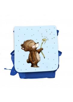 Kinderrucksack Bär Bärchen mit Pusteblume blau hellblau Kindergarten Rucksack Tasche Wunschname kgn056