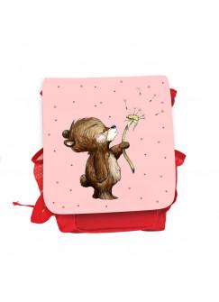 Kinderrucksack Bär Bärchen mit Pusteblume rot rosa Kindergarten Rucksack Tasche Wunschname kgn057