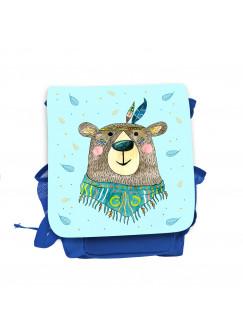 Kinderrucksack Boho Bär Bärchen Indianer blau hellblau Kindergarten Rucksack Tasche Wunschname kgn058