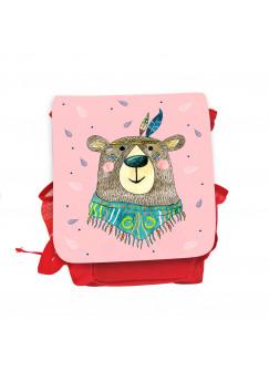 Kinderrucksack Boho Bär Bärchen Indianer rot rosa Kindergarten Rucksack Tasche Wunschname kgn059