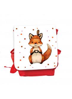 Kinderrucksack Indianer Fuchs Herz rot rosa Kindergarten Rucksack Tasche Wunschname kgn060