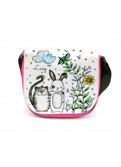 Kindergartentasche Kindertasche Tasche Beste Freunde Katze und Hase mit Wunschnamen kgt13