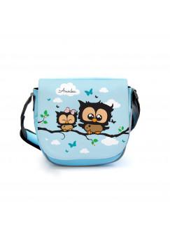 Kindergartentasche Kindertasche Tasche Eulen Eulchen auf Zweig mit Wunschnamen kgt14