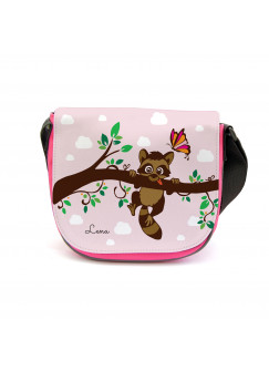 Kindergartentasche Kindertasche Tasche Waschbär auf Zweig mit Wunschnamen kgt17
