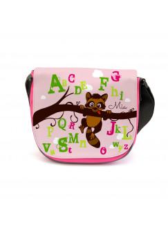 Kindergartentasche Kindertasche Tasche Waschbär auf Zweig mit Alphabet und Wunschnamen kgt18