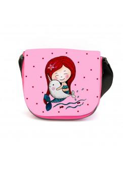 Kindergartentasche Meerjungfrau Kindertasche mit Delfin Punkte und Wunschname kgt39