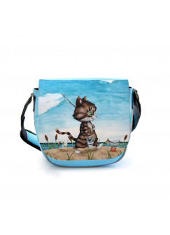 Kindergartentasche Kater Katze Kätzchen Angelkatze Angel angeln Fische Tasche blau Kindertasche Wunschname kgt41