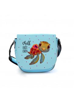 Kindergartentasche Schildkröte mit Spruch Chillkrötchen Chill Kröte Tasche blau Kindertasche Wunschname kgt42