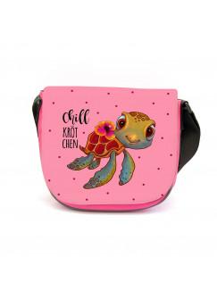 Kindergartentasche Schildkröte mit Spruch Chillkrötchen Chill Kröte Tasche rosa Kindertasche Wunschname kgt43