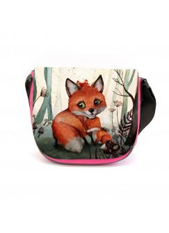 Kindergartentasche Fuchs Fuchsmama mit Jungtier im Wald rosa Kindertasche Wunschname kgt44