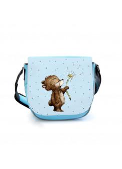 Kindergartentasche Bär Bärchen mit Pusteblume blau Kindertasche Wunschname kgt46