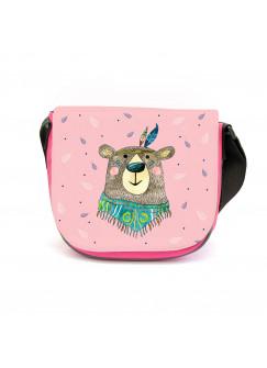 Kindergartentasche Boho mit Bär Braunbär Federschmuck Tasche rosa mit Punkte Kindertasche kgt49