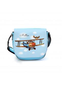 Kindergartentasche Kindertasche Tasche Doppeldecker Flugzeug Flieger mit Eule und Wunschname kgt23