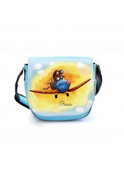 Kindergartentasche Kindertasche Umhängetasche Schultertasche Tasche Flugzeug Sommerabend mit Wunschnamen kgt24