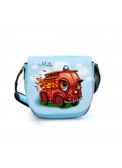Kindergartentasche Kindertasche Umhängetasche Schultertasche Tasche Feuerwehr Feuerwehrauto im Einsatz mit Wunschnamen kgt21