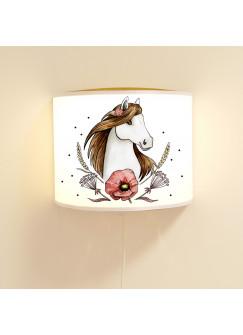 Wandlampe Wandleuchte Lese-Schlummerlampe und Nachtlicht Lampe Pferd mit Kornblume und Punkte ls74
