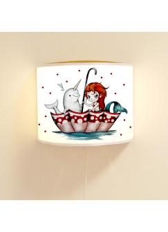 Wandlampe Wandleuchte Lese-Schlummerlampe und Nachtlicht Lampe Nixe Meerjungfrau mit Einhorndelfin und Punkte ls75