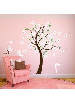 Wandtattoo Kirschblütenbaum mit Elfen Feen Blumen und Sterne vierfarbig M1164