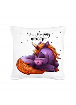 Kissen mit Füllung Dekokissen Einhorn mit Spruch Sprichwort I'm a sleeping unicorn ks40