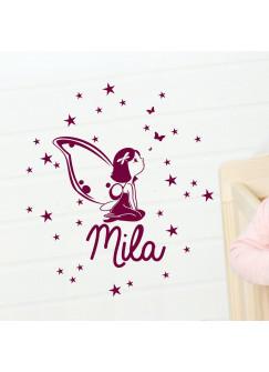 Wandtattoo Beschützer Fee Elfe mit Schmetterlinge Sterne und Wunschnamen M994