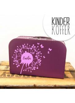 Kinderkoffer Koffer Pusteblume mit Schmetterlingen lila kos8a