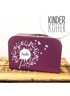 Kinderkoffer Koffer Pusteblume mit Schmetterlingen lila kos8b