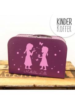 Kinderkoffer Koffer Mädchen mit Schneeflocken Schmetterlingen und Punkten kos10