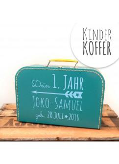 Kinderkoffer Koffer dein erstes Jahr mit Pfeil Wunschnamen und Geburtstag türkis kos1