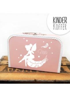 Kinderkoffer Koffer Elfe Fee mit Federn Sternen und Wunschnamen rosa kos3c