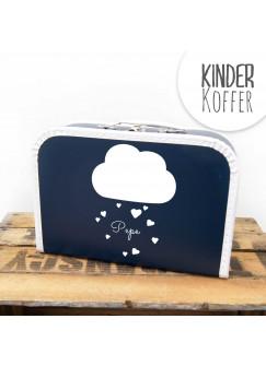 Kinderkoffer Koffer Wolke mit Herzen und Wunschname marineblau kos4a