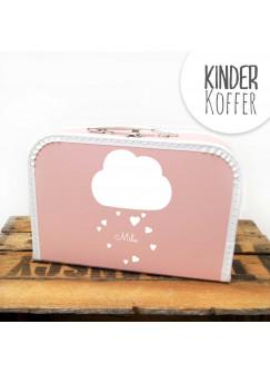 Kinderkoffer Koffer Wolke mit Herzen und Wunschname rosa kos4c